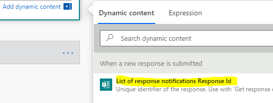 Microsoft Flow - Dynamic Content